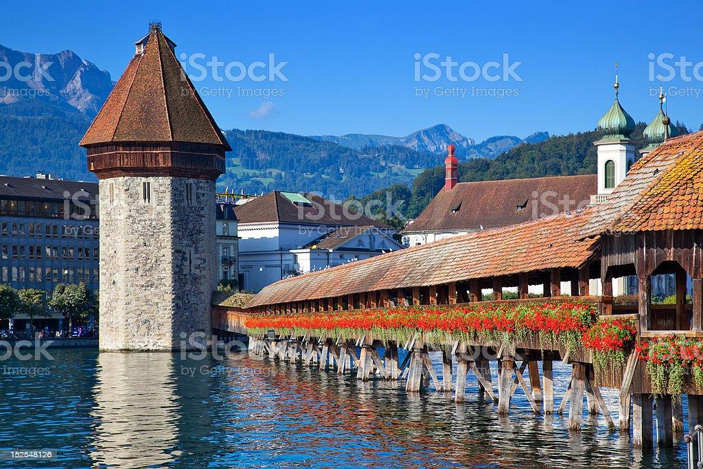 Bridge in Lucerne stock photo