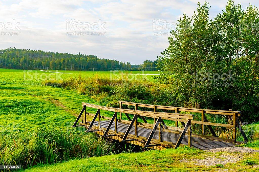 Bridge in morning sun stock photo