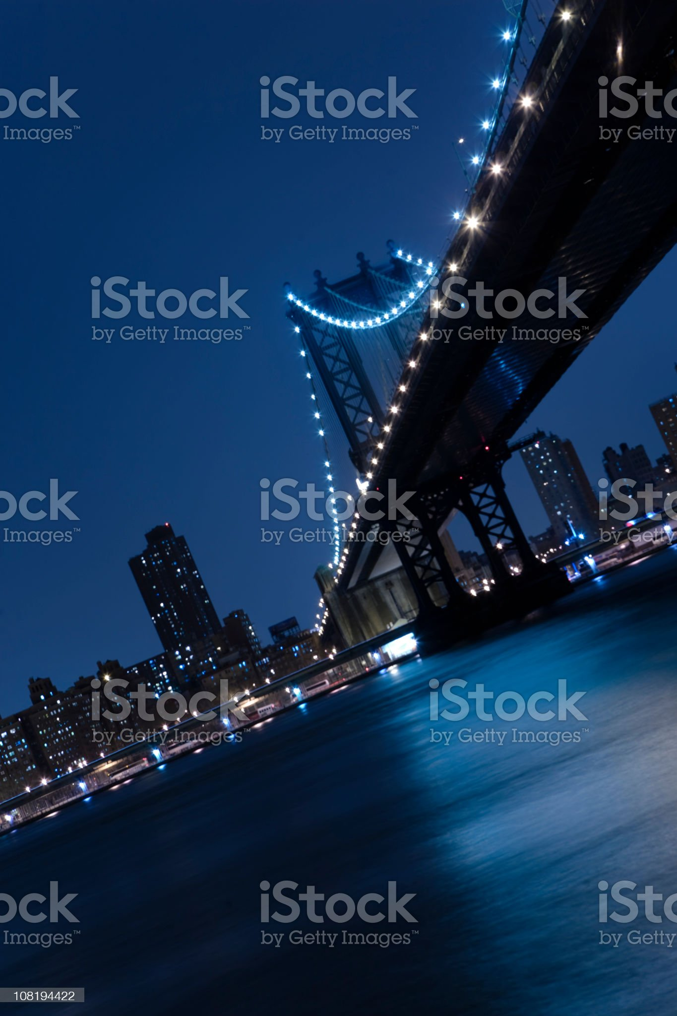 Bridge in New York at Night royalty-free stock photo