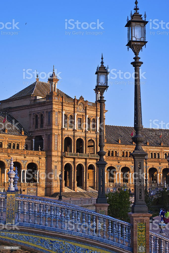 Bridge in Plaza de Espana, Seville royalty-free stock photo