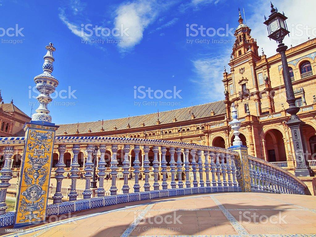 Bridge in Plaza de Espana, Seville, Spain royalty-free stock photo
