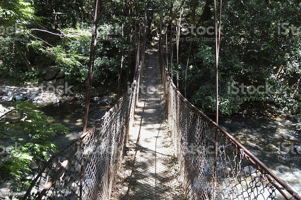 Bridge in Rincon De La Vieja national park, Costa Rica stock photo