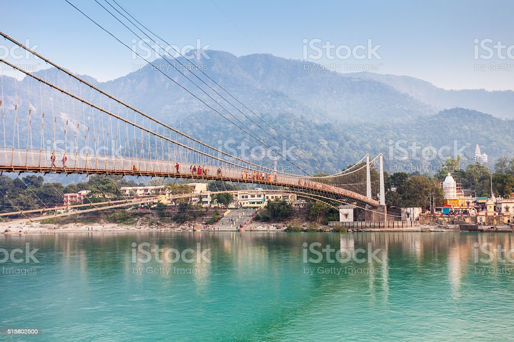 Bridge in Rishikesh stock photo