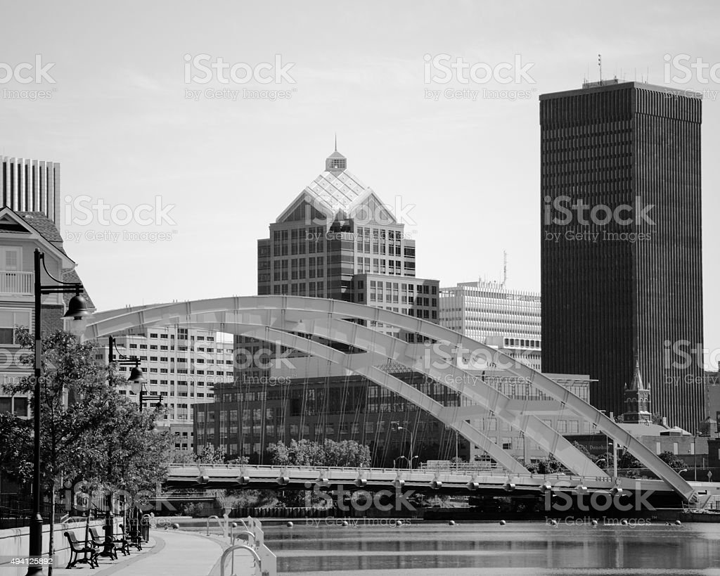 B&W Bridge in Rochester, New York stock photo