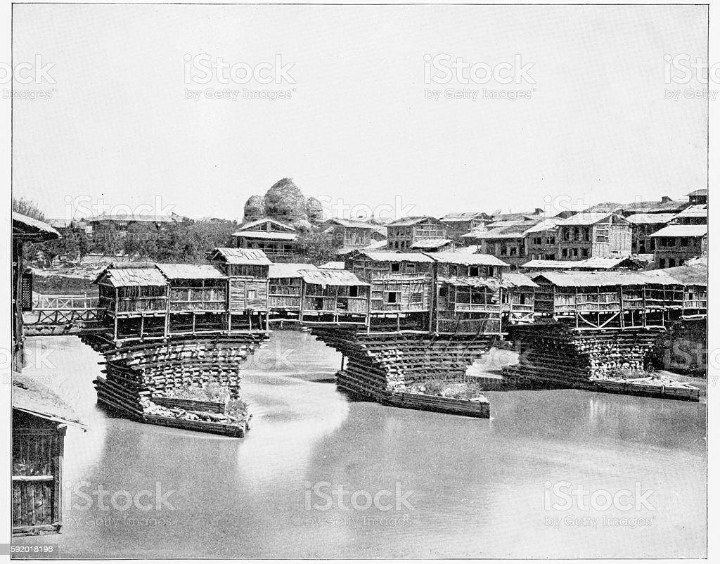 Bridge in Srinagar, India in 1880s stock photo