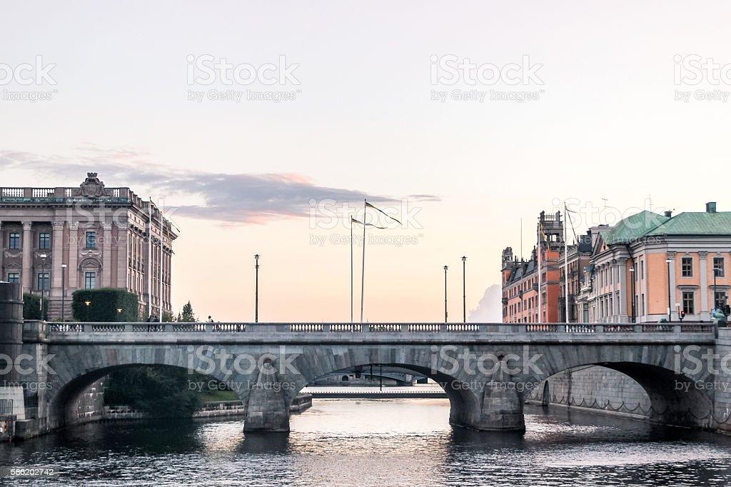 bridge in stockholm at sunset stock photo