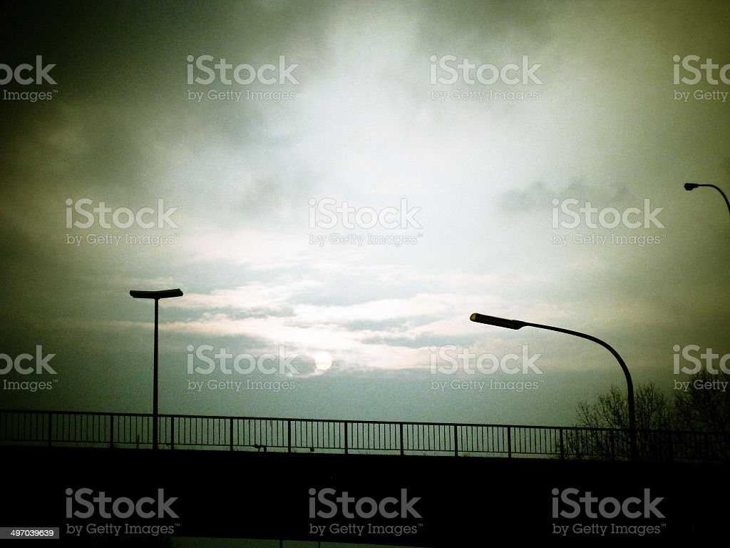 Bridge in strange light stock photo