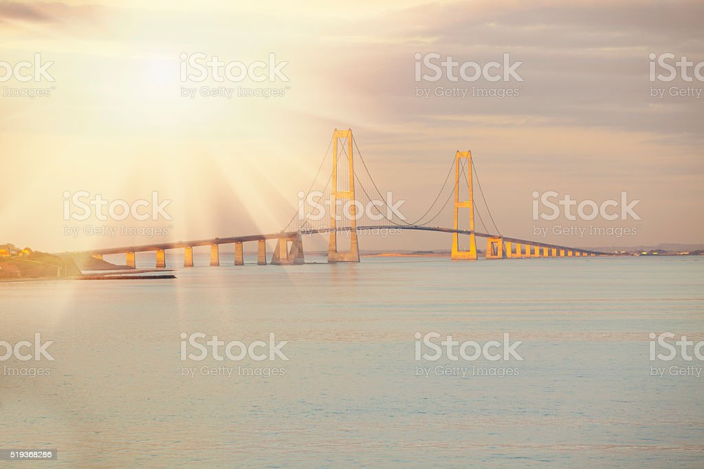 Bridge in sunrise / sunset stock photo