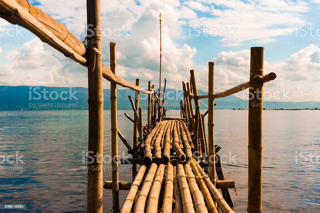 Bridge in Taal Lake stock photo