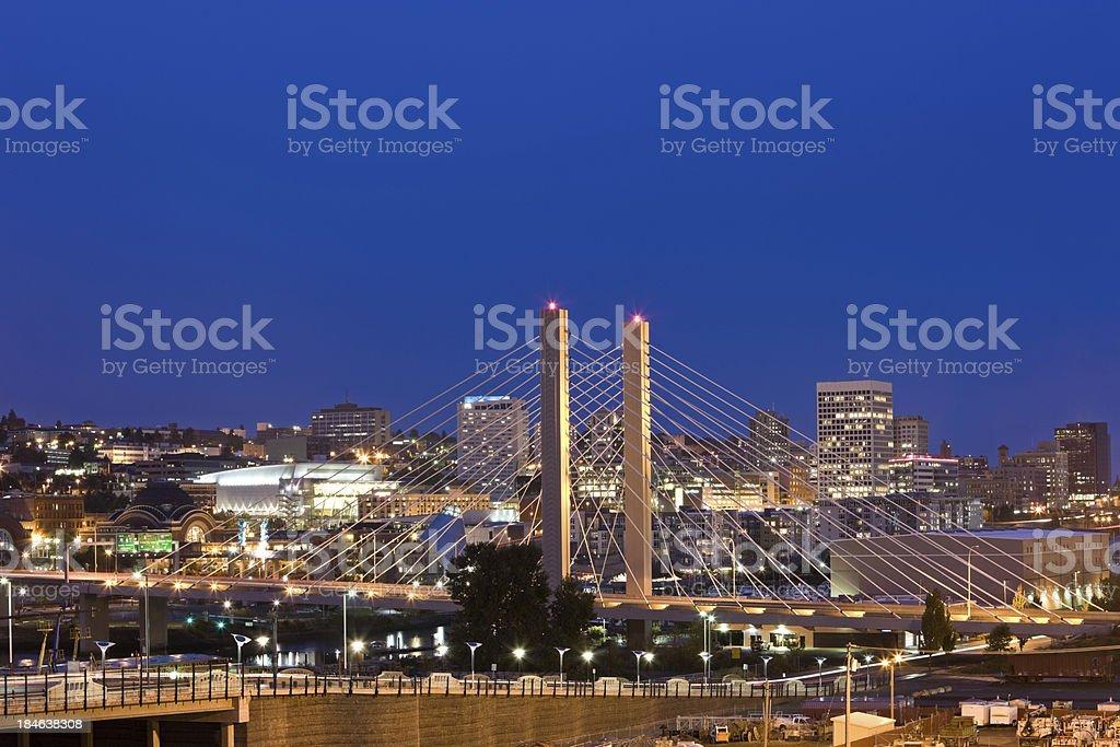 Bridge in Tacoma Washington at Night with Skyline stock photo