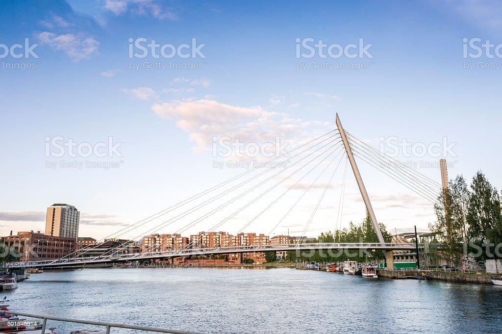 Bridge in Tampere, Finland stock photo