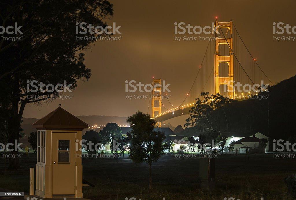 Bridge in the fog at Night royalty-free stock photo