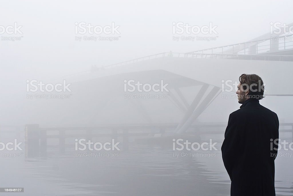 bridge in the fog royalty-free stock photo