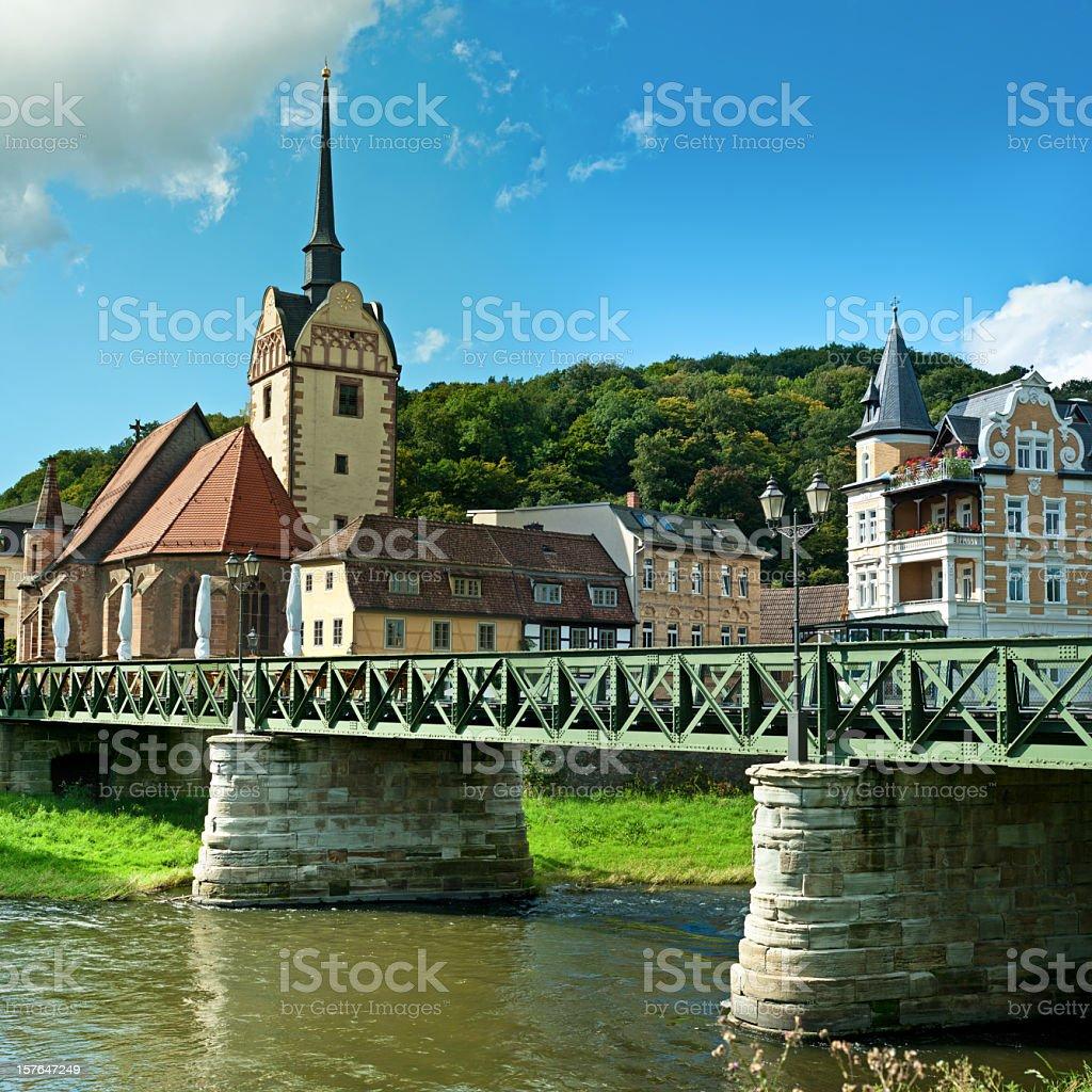 A bridge in the historic Untermhais in Thuringia, Germany stock photo