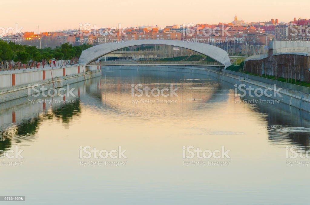 bridge in the morning stock photo
