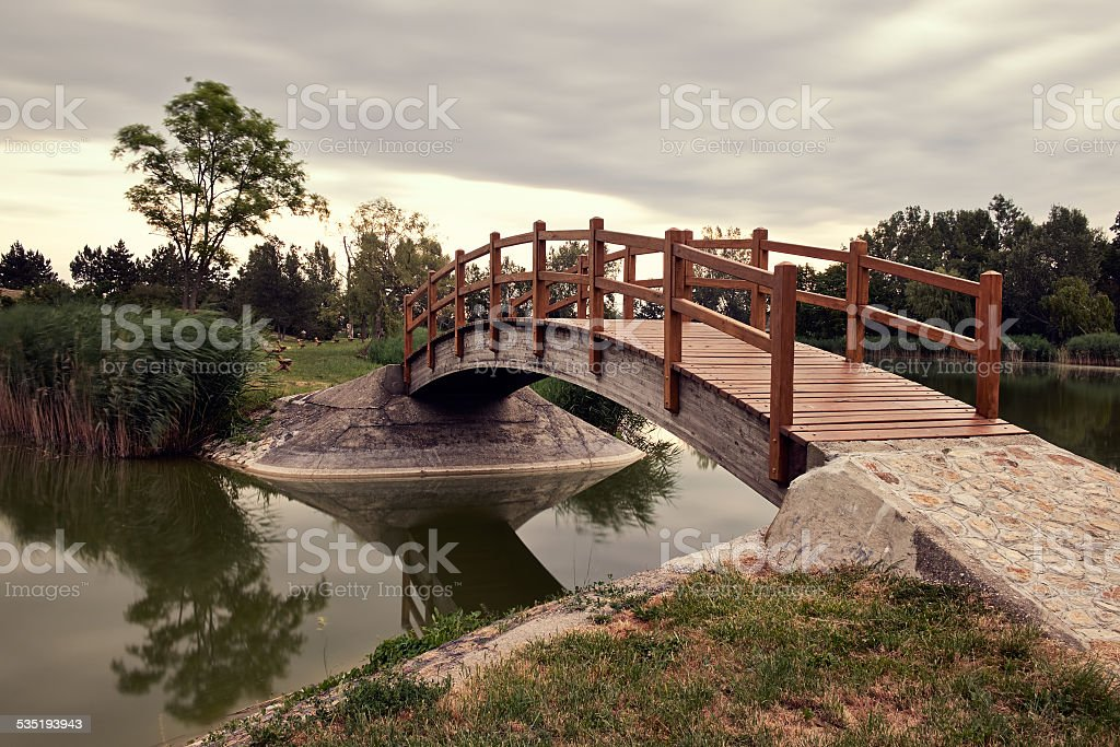 Bridge in the park stock photo