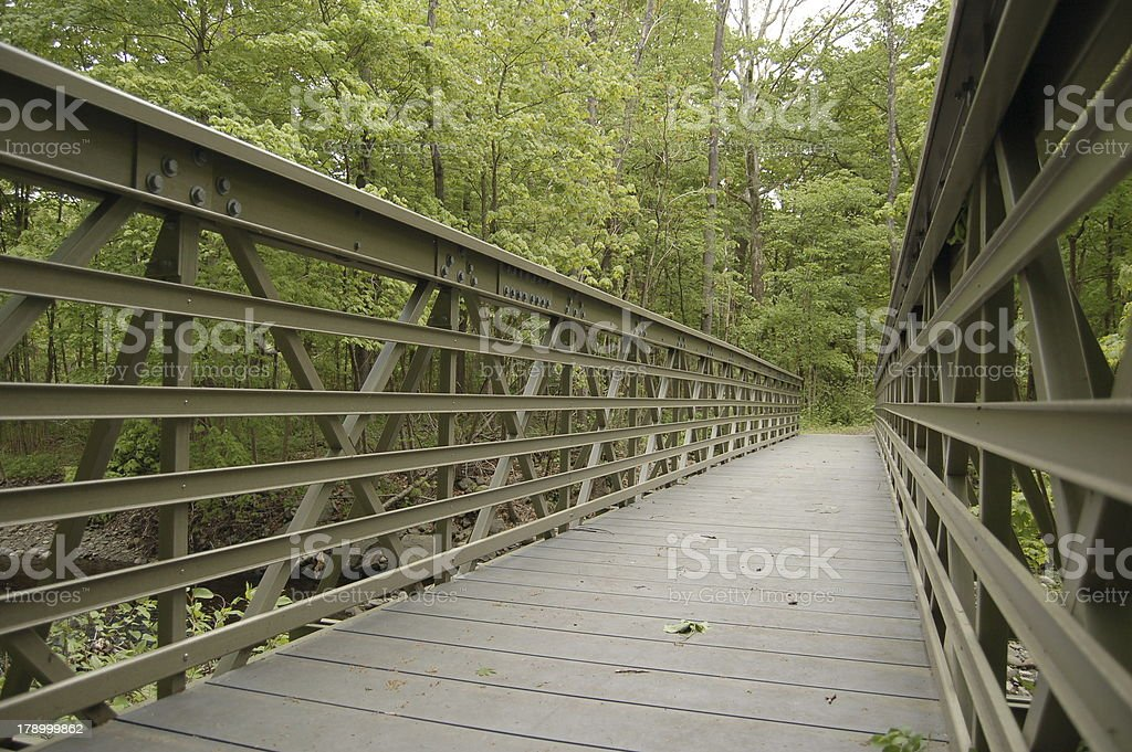 Bridge in the woods.  McDade trail. stock photo