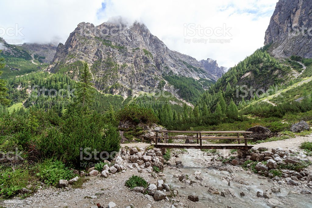 Bridge in valley Fischleintal Sexten Dolomites in South Tyrol, Italy stock photo