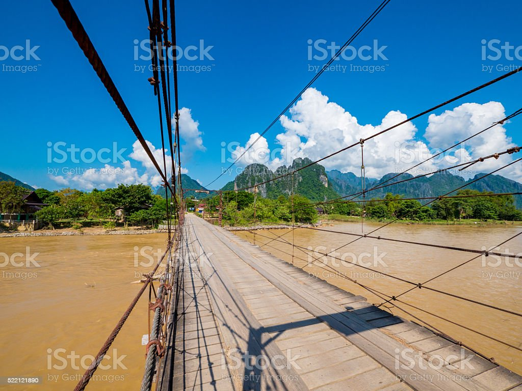 Bridge in Vang Vieng, Laos stock photo