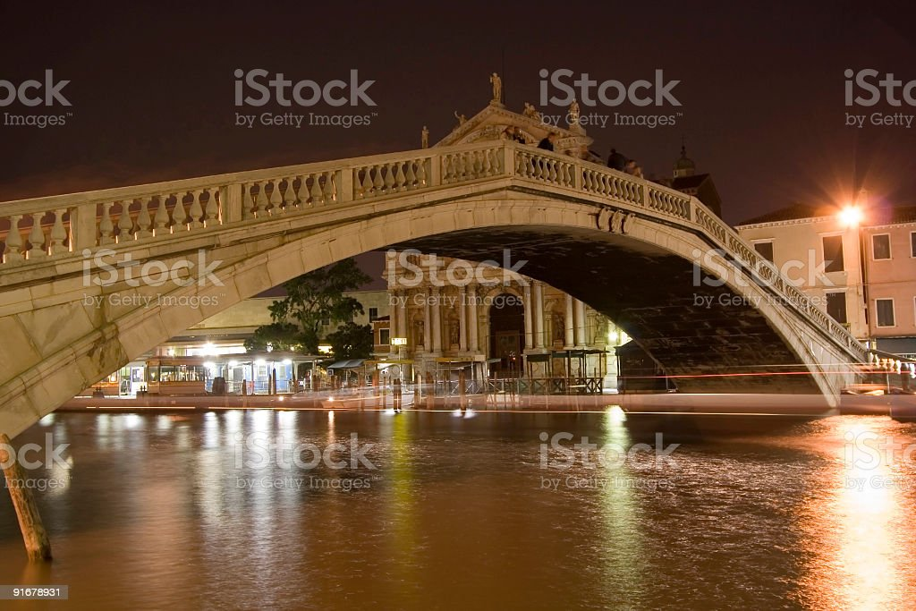 Bridge in Venice at Night royalty-free stock photo