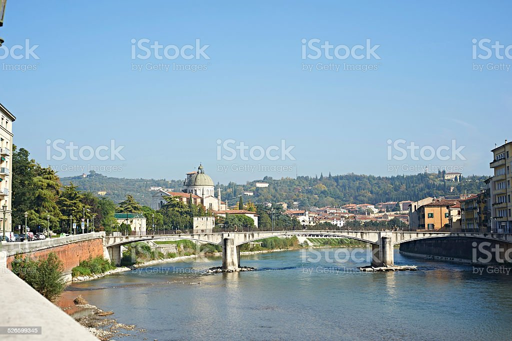 Bridge in Verona over Adige river stock photo