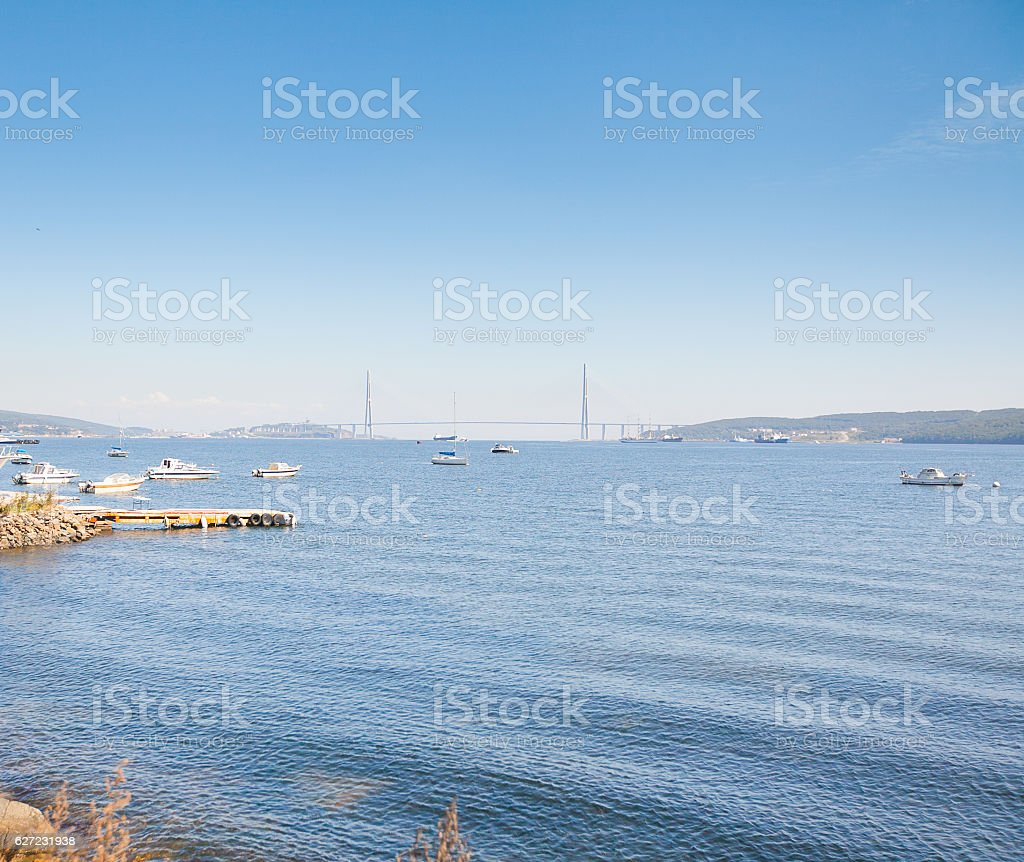 Bridge in Vladivostok city, Russia stock photo