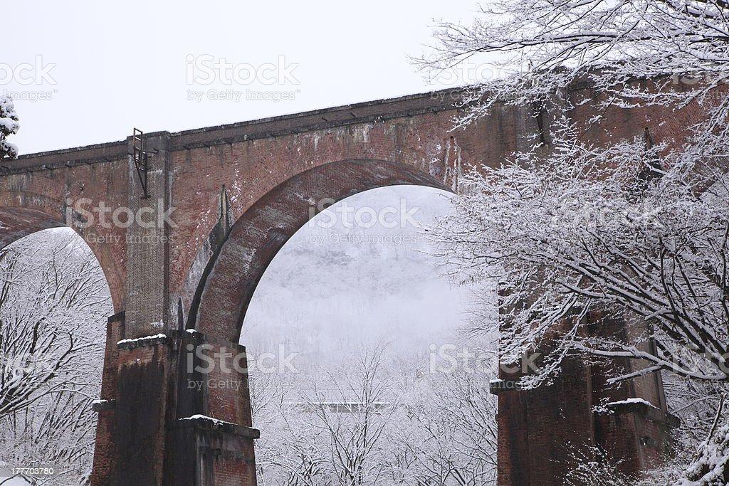 Bridge in winter snow royalty-free stock photo