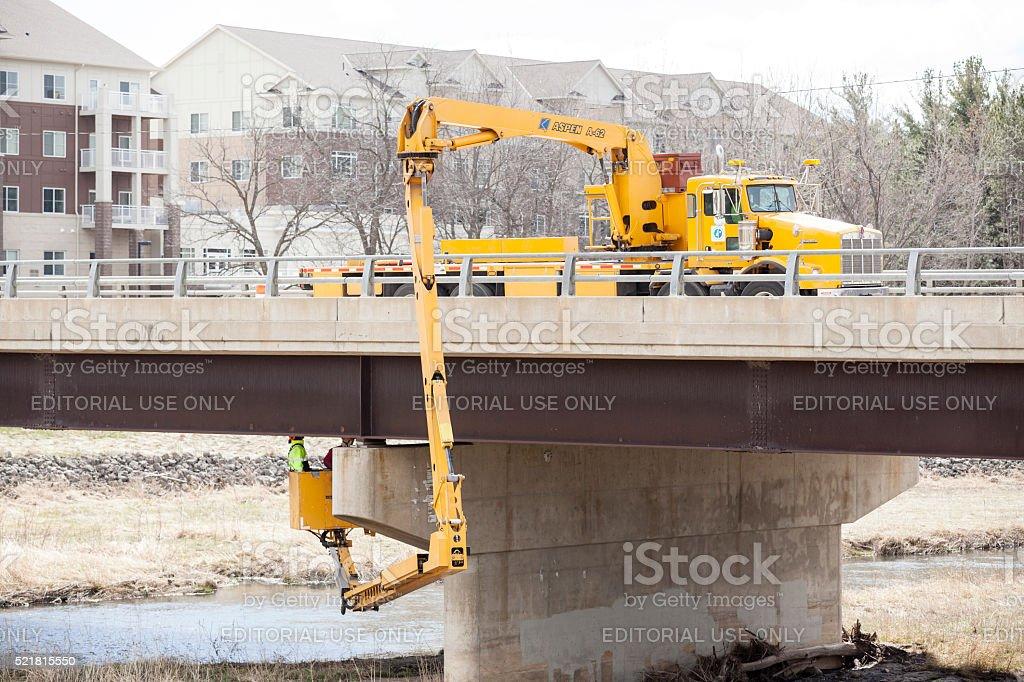 Bridge Inspection with a Snooper Truck stock photo