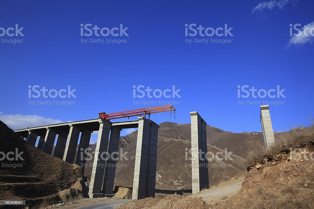 bridge is not yet completed royalty-free stock photo