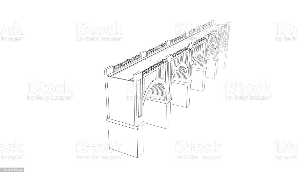 Bridge. Isolated on white background. Sketch illustration. stock photo