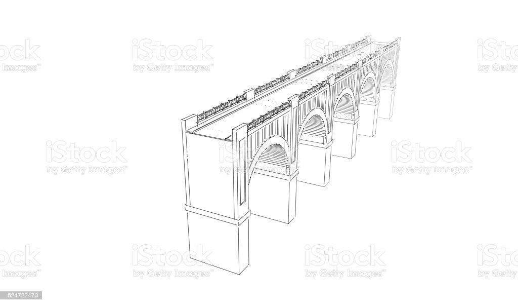 Bridge. Isolated on white background. Sketch illustration. stock photo