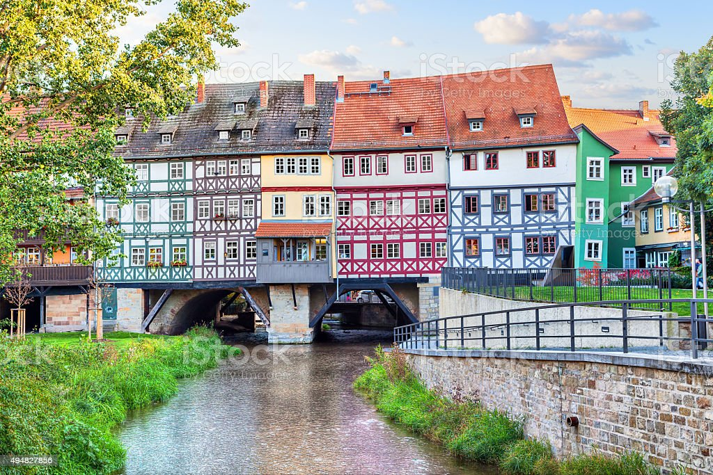 Bridge Kramerbrucke in Erfurt stock photo