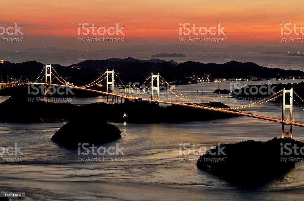 Bridge lit up stock photo