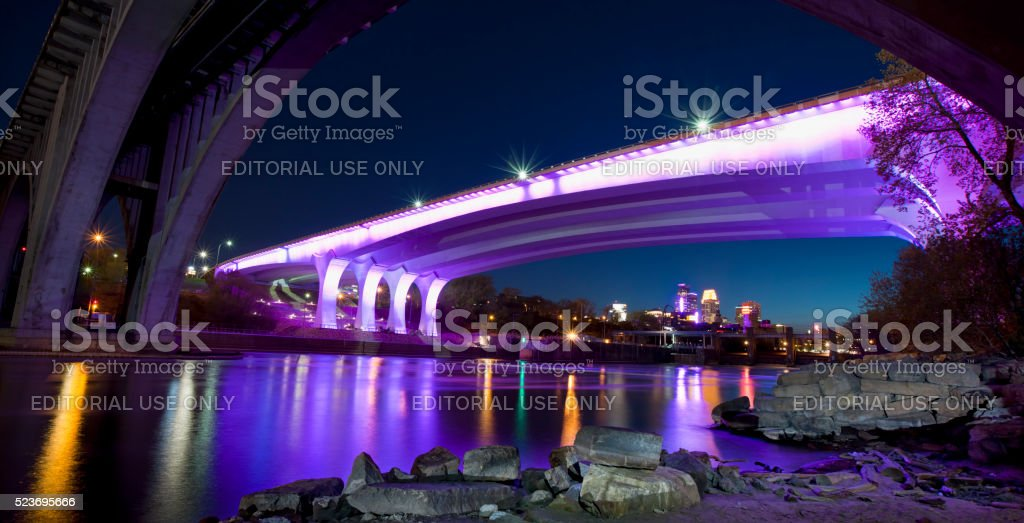 35W Bridge Minneapolis Illuminated in Purple Lights Tribute to Prince stock photo
