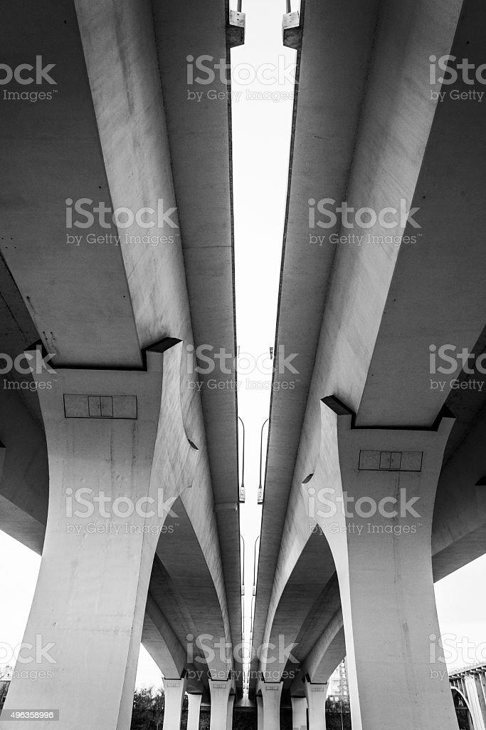 35W Bridge Modern Bridge Details Black and White stock photo