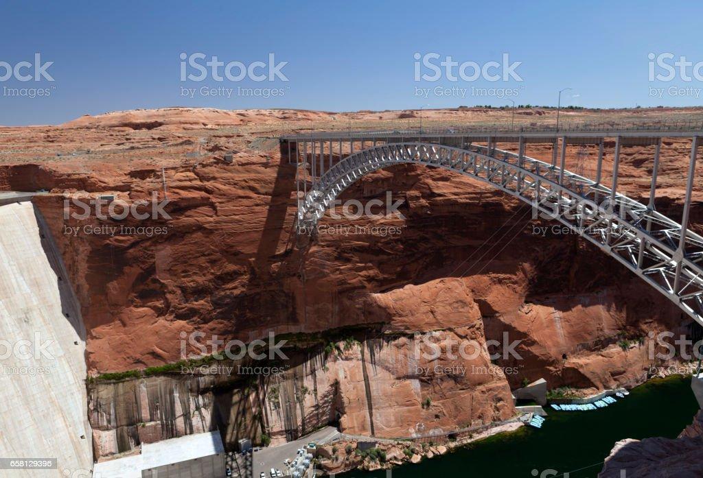 Bridge near the dam on Lake Powell in the Glen Canyon stock photo
