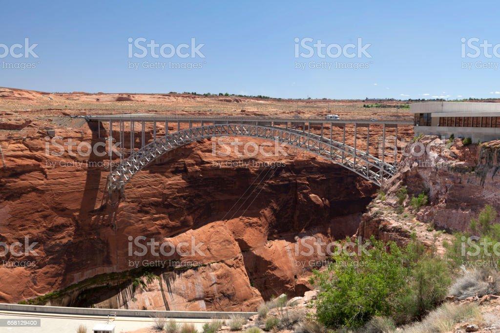 Bridge near the dam on Lake Powell stock photo