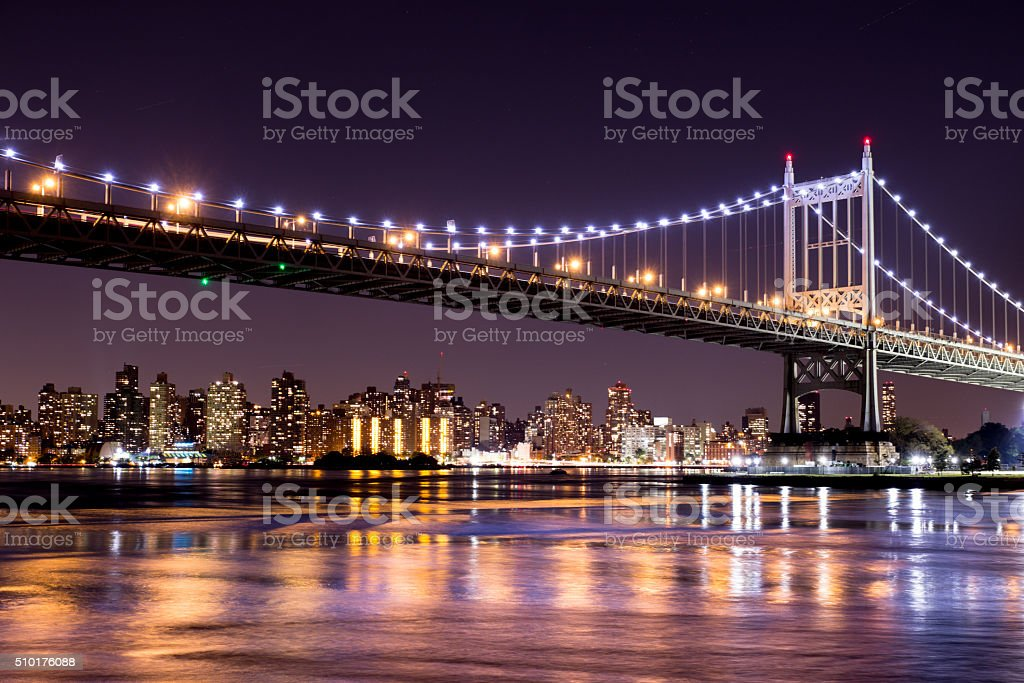 NYC Bridge Night stock photo