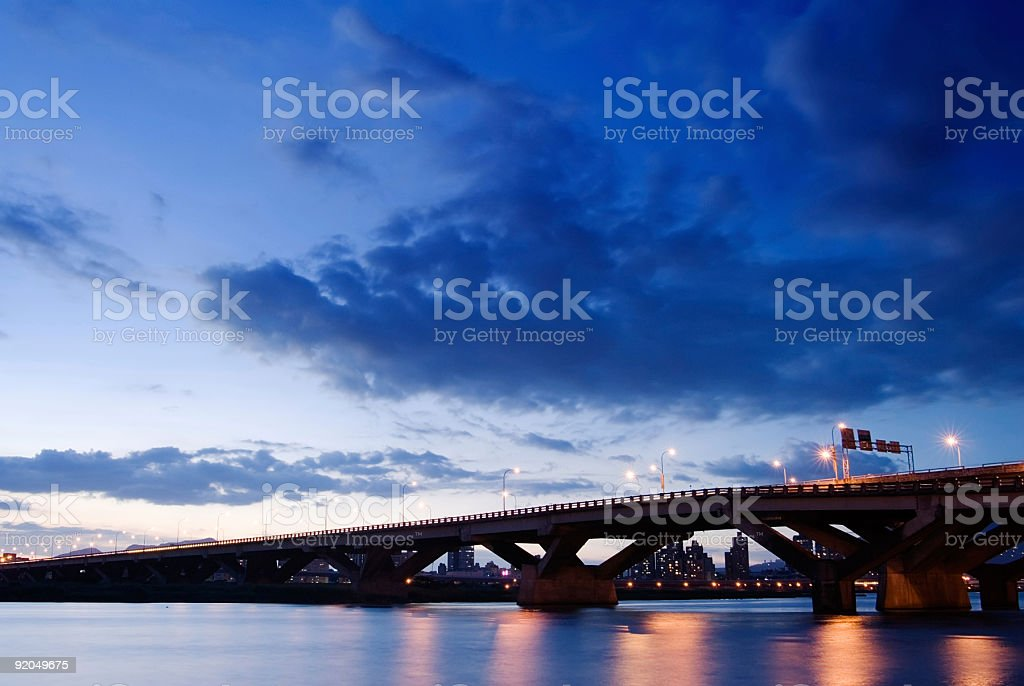 Bridge night scene royalty-free stock photo