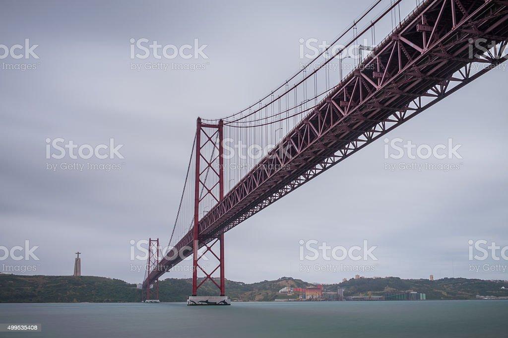 Bridge of 25th April in Lisbon, Portugal stock photo