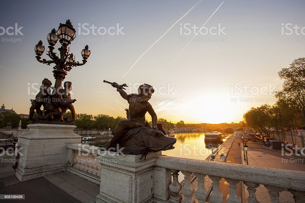 Bridge of Alexander III against sunset in Paris, France stock photo