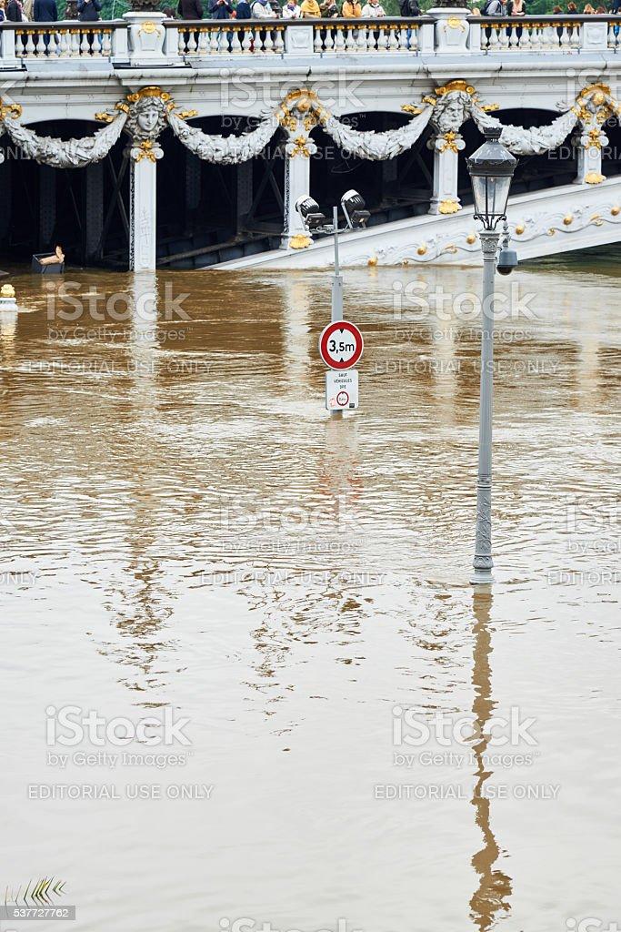 Bridge of Alexandre III during floods in Paris royalty-free stock photo