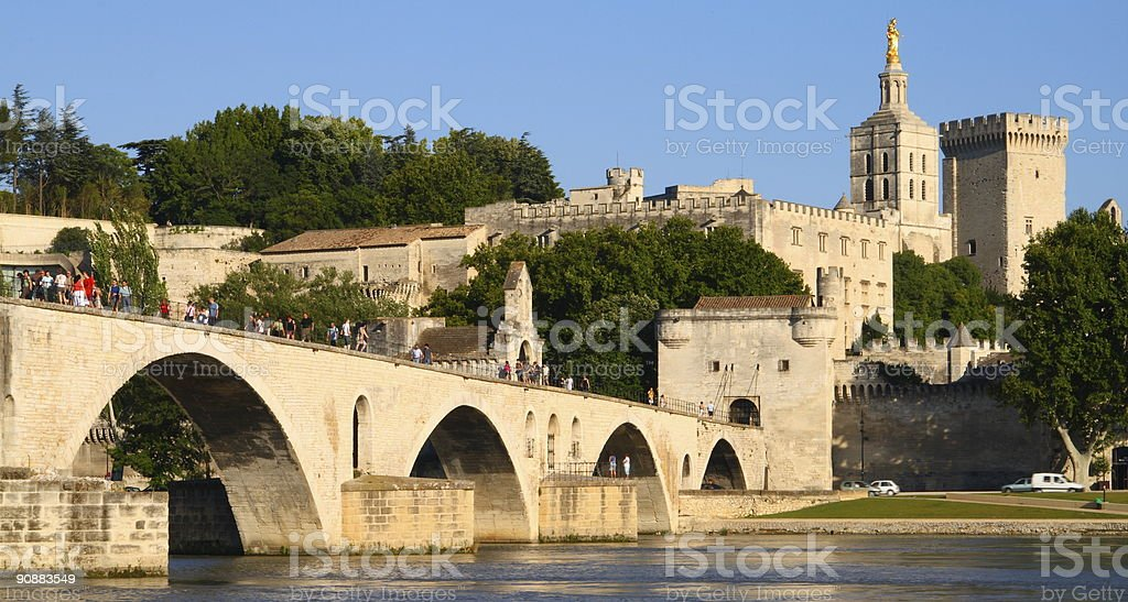 Bridge of Avignon with Popes Palace Front stock photo