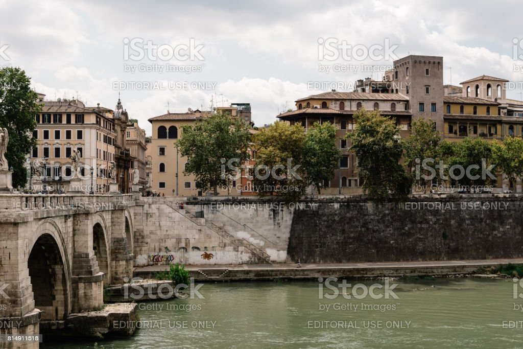 Bridge of Castel Sant Angelo. stock photo