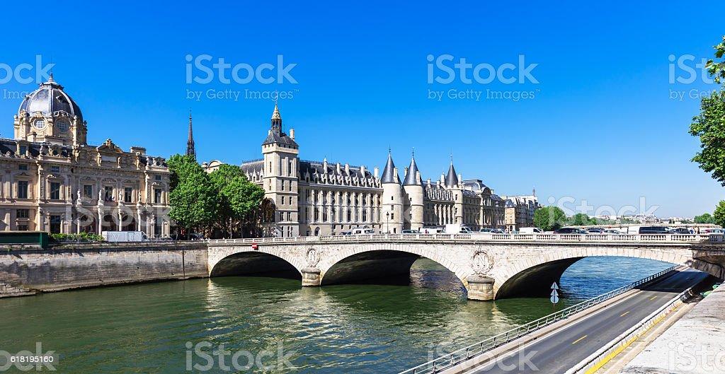 Bridge of Change and Conciergerie Castle. Paris, France stock photo