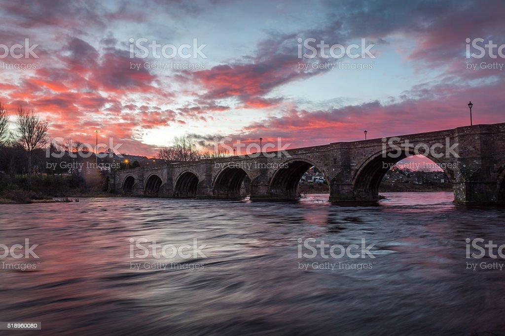 Bridge of Dee Sunrise stock photo