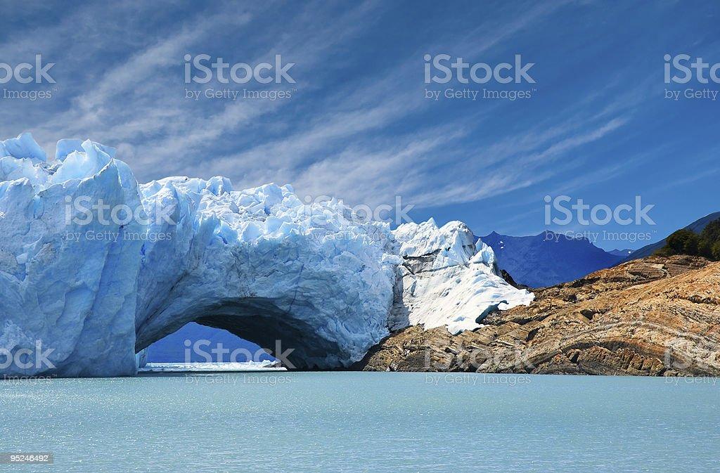 Bridge of ice in Perito Moreno glacier. stock photo