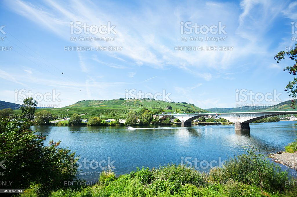 Bridge of L 421 over river Mosel stock photo