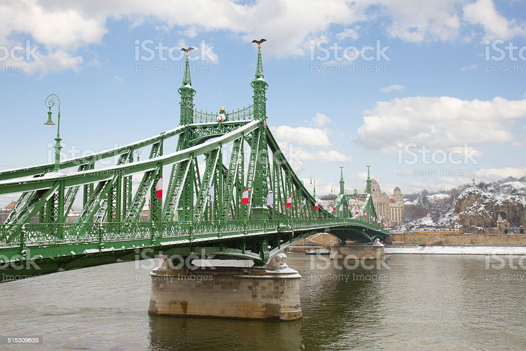 Bridge of Liberty over Danube, Budapest stock photo