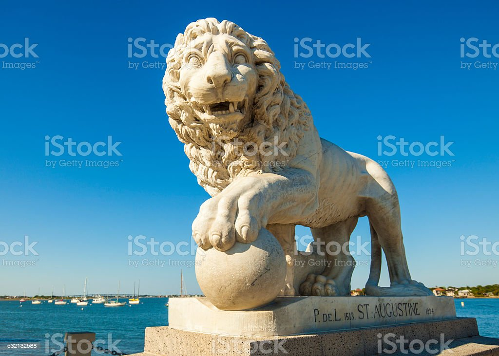 Bridge Of Lions Statue In St. Augustine, Florida stock photo